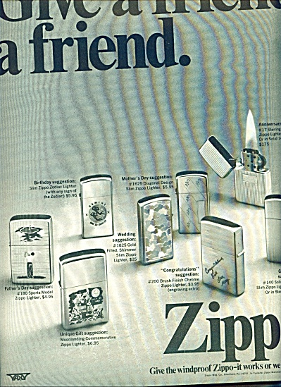 1970 ZIPPO Lighter AD MoonLanding - Sports + (Image1)