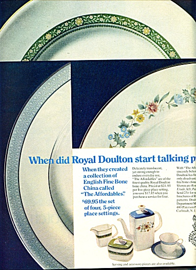 1970 ROYAL DOULTON CHINA AD Romance Etude ++ (Image1)