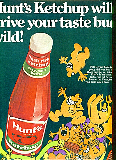1970 HUNT's Ketchup Ad CARTOON TASTE BUDS (Image1)