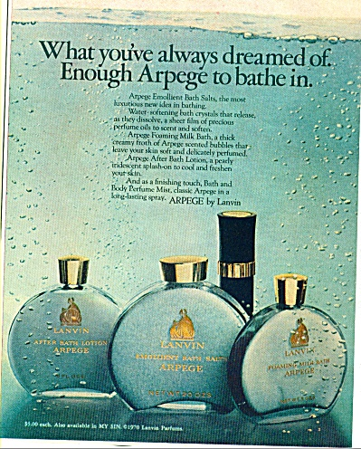 1970 ARPEGE by LANVIN PERFUME Bottles AD (Image1)