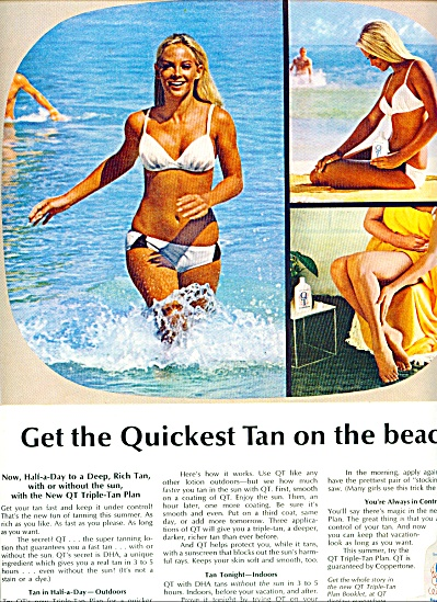 1970 Coppertone Tanning Lotion AD BLONDE MODEL (Image1)
