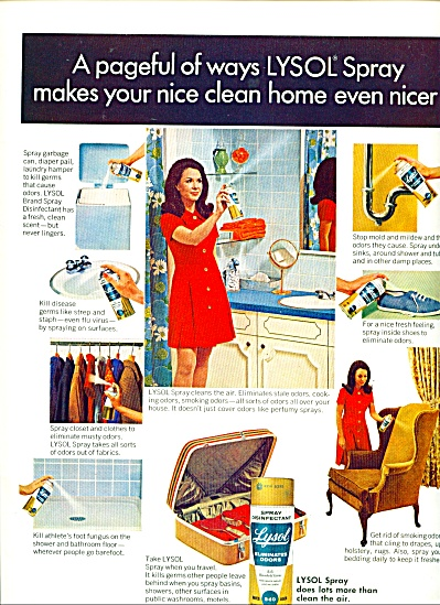 1970 LYSOL  spray disinfectant  Cleaning AD (Image1)