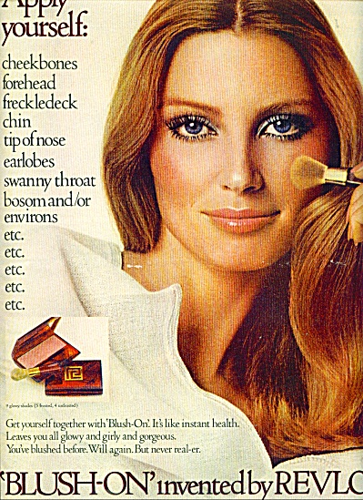 1970 REVLON Blush Cosmetic AD EVELYN KUHN (Image1)