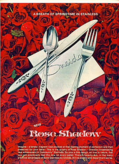 1970 ONEIDA Rose Shadow Stainless Silverware (Image1)