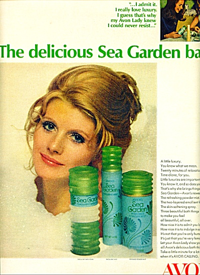 1970 AVON SEA GARDEN Products AD Model (Image1)