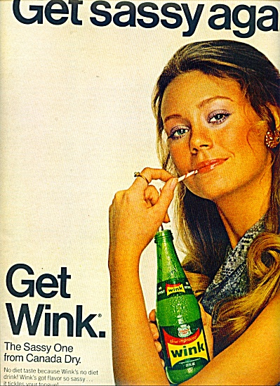 1970 WINK Soda Drink AD - Model Karen Graham? (Image1)