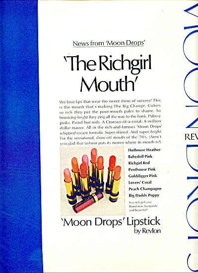 1970 Moon Drops Revlon EVELYN KUHN MODEL AD (Image1)