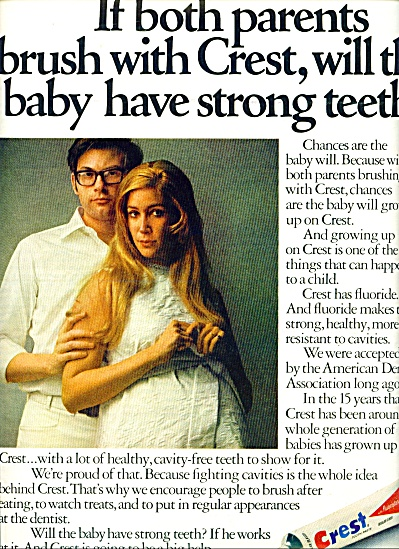 1970 CREST Toothpaste Coupon and AD Pregnant (Image1)