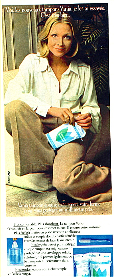 1974 FRENCH Vania TAMPONS Foreign AD (Image1)