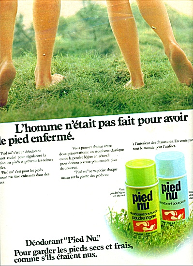 1974 Pied Nu Deodorant Pour Pieds Ad (French)