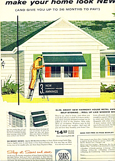 1957 Sears HARMONY HOUSE Metal AWNINGS AD (Image1)