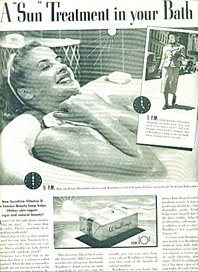 1937 Woodbury Soap - Woman Bathing Ad BEAUTY (Image1)