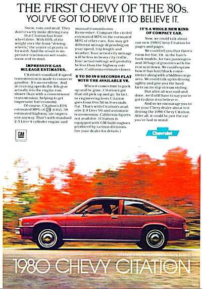 1980 Chevy Chevrolet Car Citation Ad 1979