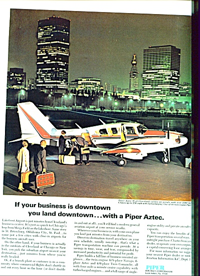 1969 PIPER Aircraft Aztec D Airplane PLANE AD (Image1)
