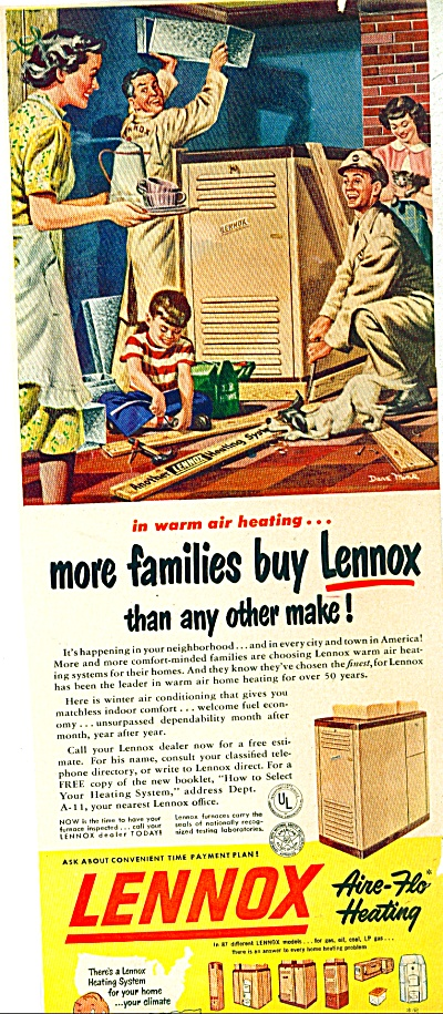 1950 LENNOX HEATING FURNACE AD Dave Mink ART (Image1)