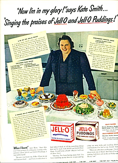 1942 KATE SMITH JELLO Gelatin Pudding AD (Image1)