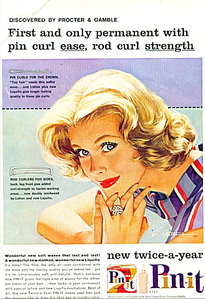 1958 PIN-IT PERMANENT PIN CURL EASE AD (Image1)
