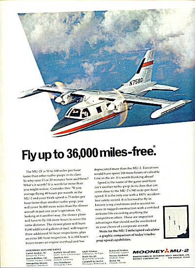 1969 Mooney MU Airplane Plane Turbo Prop AD (Image1)
