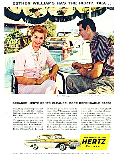 19508 Esther Williams Hertz Rental Car Ad
