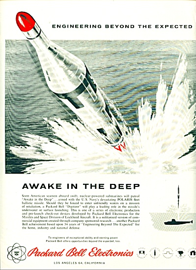 1959 Packard Bell US Navy MISSILE POLARIS AD (Image1)