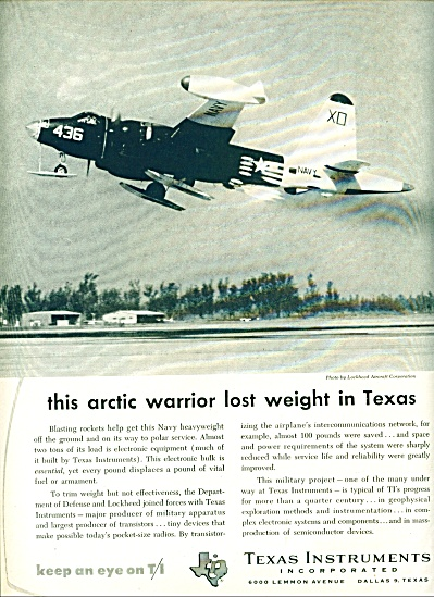 1957 Texas Instruments Lockheed Us Navy Xo Pl