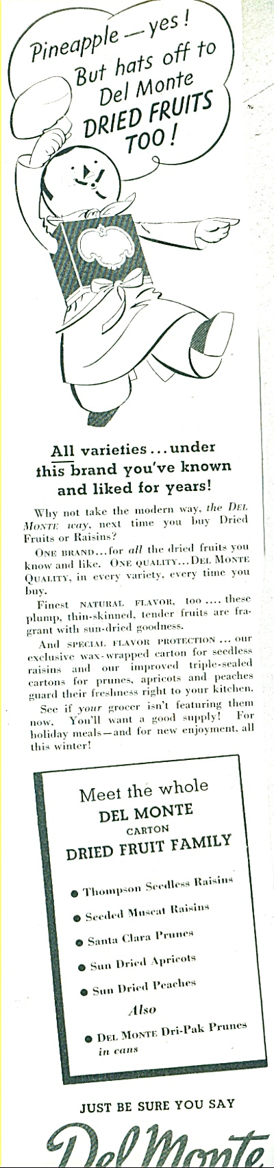 1937 DEL MONTE FOODS Pineapple Cartoon AD (Image1)