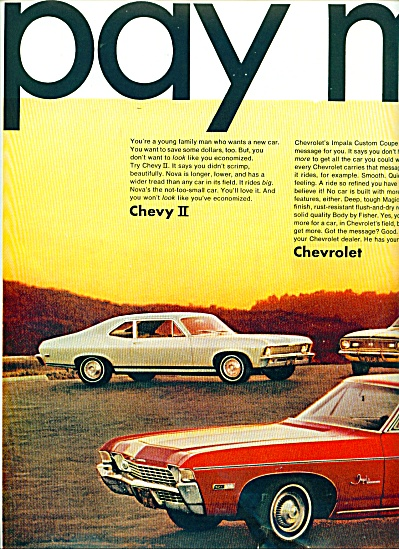 1968 CHEVY CHEVELLE CAMARO Chevrolet CAR AD 2 (Image1)