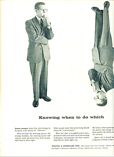 1956 YOUNG & RUBICAM ADVERTISING AD UPSIDE DN (Image1)