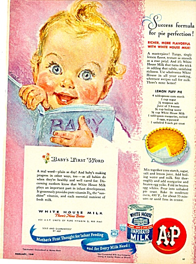 White House evaporated Milk A & P Ad  Feb.48 (Image1)
