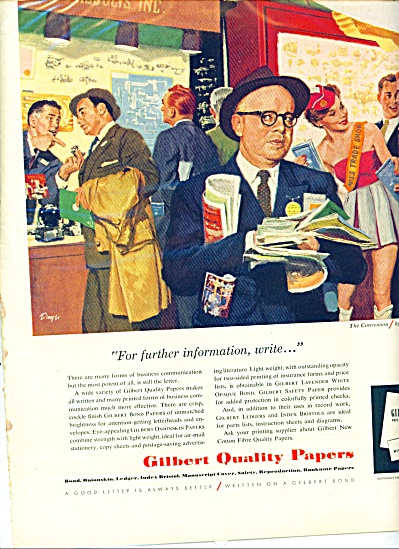 1959 Gilbert Paper AD Great ARTWORK by DWYER (Image1)