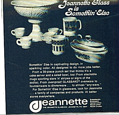 OLD JEANNETTE GLASS AD Glasbake Punchbowl Mug (Image1)
