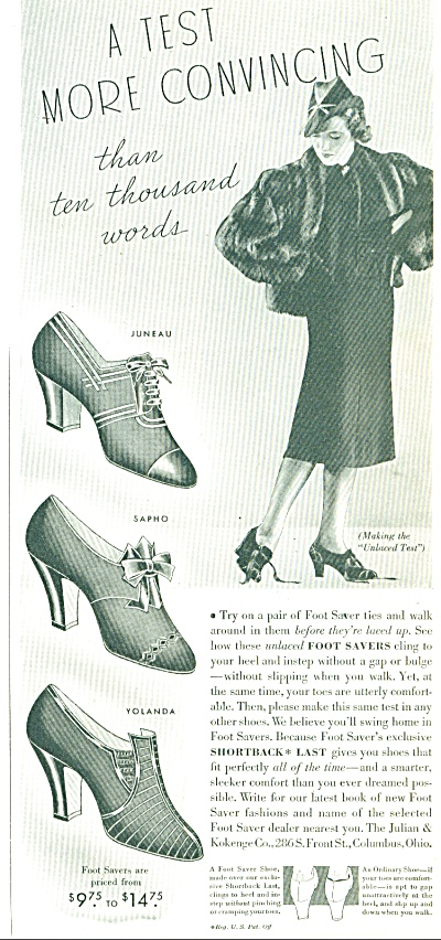 1937 FOOT SAVER Shoe AD VINTAGE SHOES (Image1)
