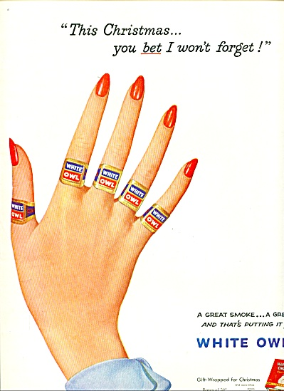 1952 White Owl Cigars Ad Cigar Band Rings