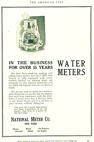Vintage National WATER Meter Co. Ad (Image1)