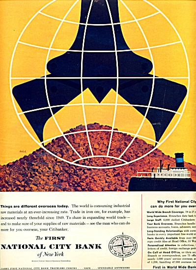 1959 First National City Bank NY HALLOCK AD (Image1)