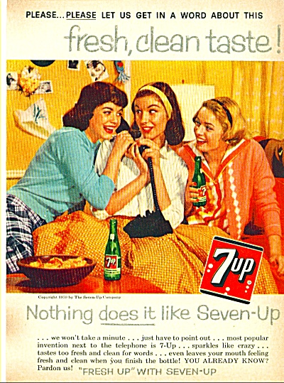 1959 7UP Seven UP GIRL'S ON PHONE Soda AD (Image1)