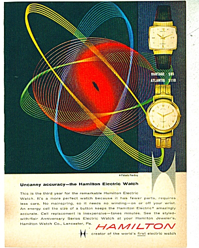 1959 Hamilton Watch Ad Retro Art 2 Models