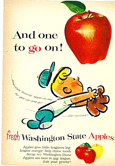 1959 Washington State APPLES AD Cartoon Art (Image1)