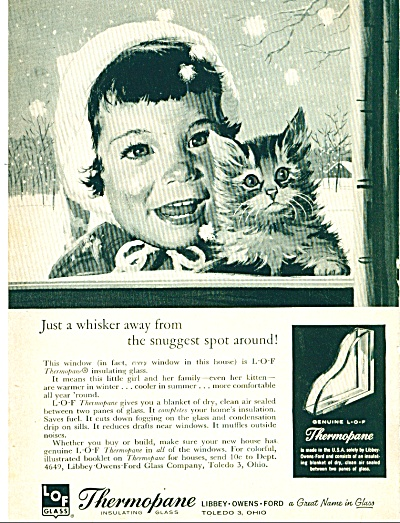 1959 LOF Glass LITTLE GIRL - KITTEN CUTEST AD (Image1)
