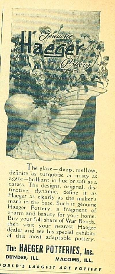1944 HAEGER POTTERIES AD Featuring Vintage Po (Image1)