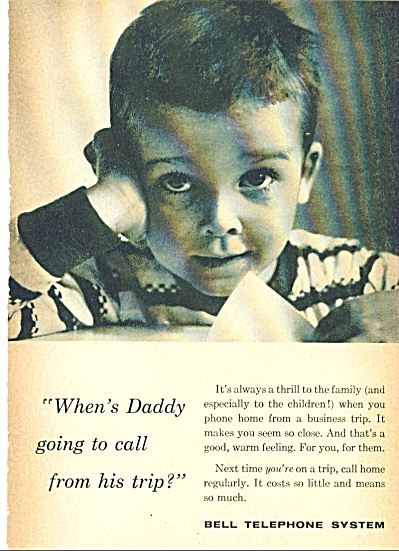 1959 BELL TELEPHONE AD When's DADDY GONNA CAL (Image1)