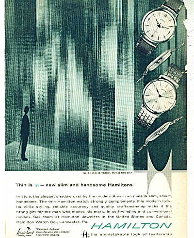 1960 Hamilton Watch Ad Slimline Models