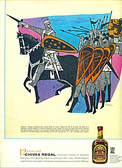 1959 CHIVAS WHISKEY AD ART Antonio Frasconi (Image1)