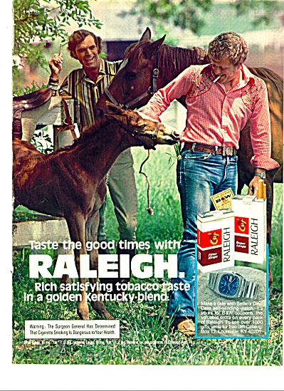 1975 Raleigh Cigarettes Ad Defunct Company Ky