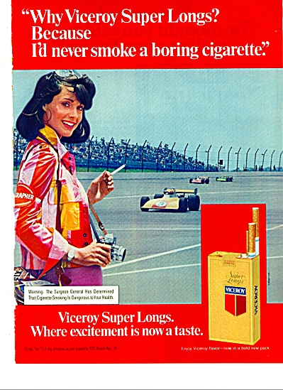 1975 Viceroy Cigarette Ad Race Track