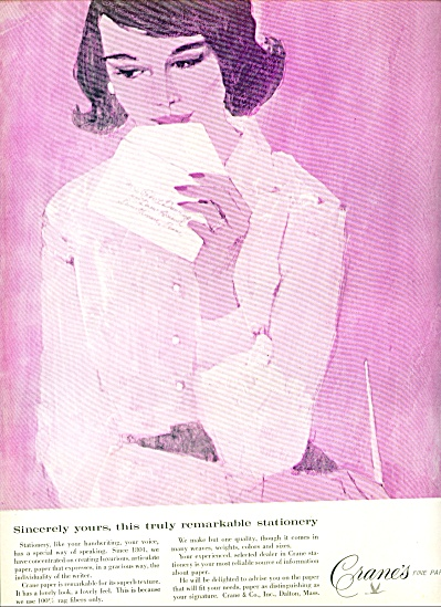 1964 Crane's fine papers AD LADY in PINK ART (Image1)