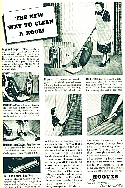 1938 Hoover Cleaning Vacuum Ad Ensembles