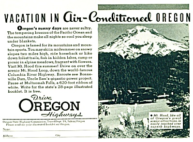 1938 OREGON Travel Vacation AD Drive Mt. Hood (Image1)