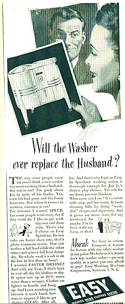 1947 Easy Washer AD REPLACE THE HUSBAND (Image1)