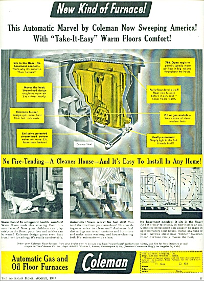 1947 Coleman Gas - Oil FURNACE AD Cute pics (Image1)
